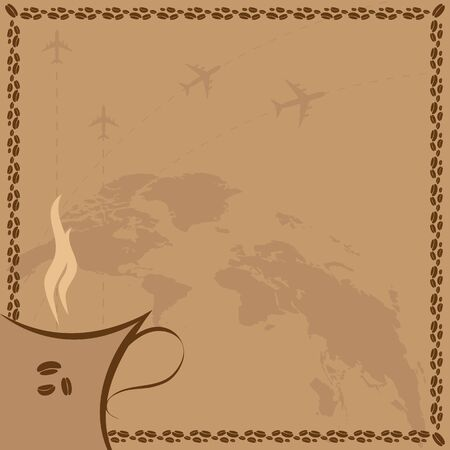 vector background with world map coffee and airplanes Vector