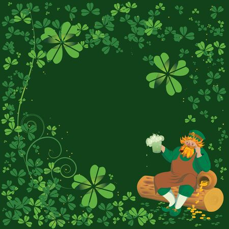 vector background with Leprechaun end clover leaves Vector