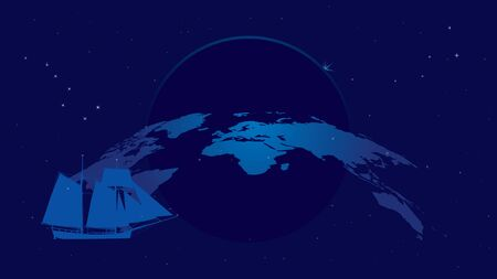 ursa: travel vector background with constellations and tall ship Illustration
