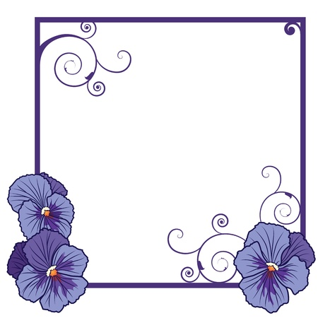 vector frame with flowers of  violet pansies   EPS 10   Vector