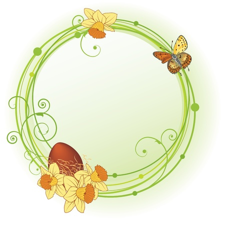 Easter vector floral frame with egg and  narcissuses Vector