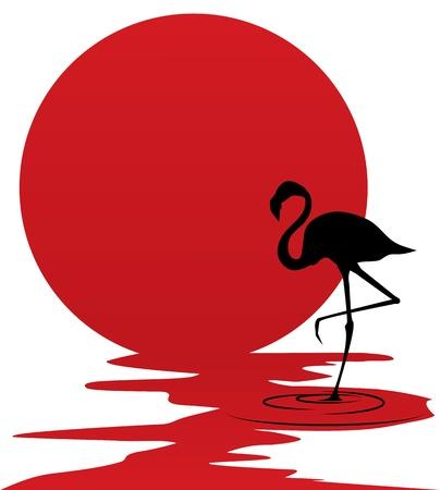 flamingo: background with flamingo opposite the sun