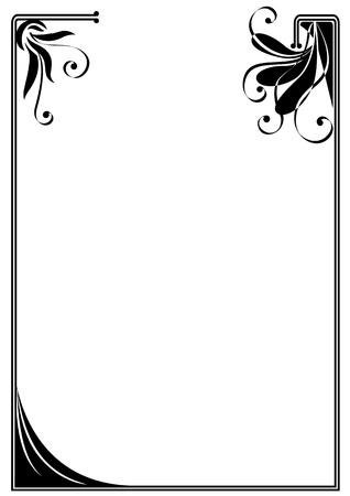 cadre noir et blanc: cadre vecteur de fleurs stylis�es dans des couleurs noires et blanches