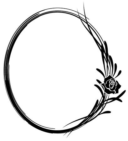 ovalo: marco vector floral abstracto con flores de rosa en colores blanco y negro