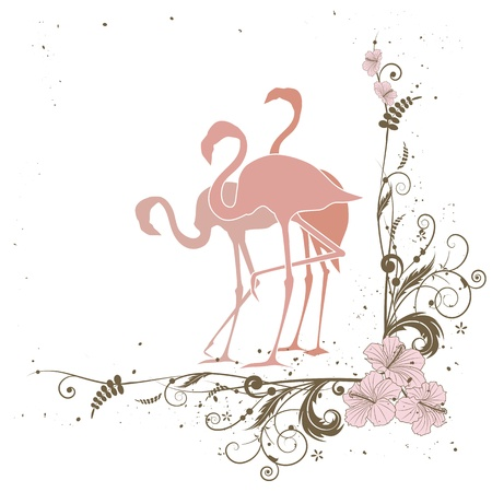 vector illustration with flamingo in pink colors Vector