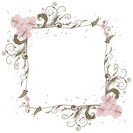 frame with the flowers of hibiscus Vector