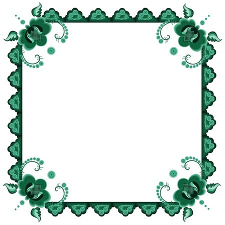 malachite:  frame with stylized flowers in green colors