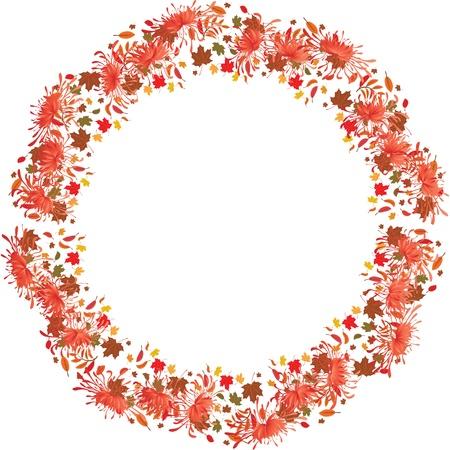 golden daisy: el marco de oto�o con el crisantemo, las hojas de los �rboles de arce y fresno
