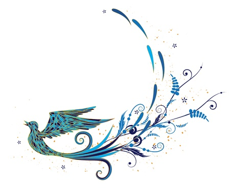 jewelry design: vector background with stylized blue bird and vegetable elements Illustration