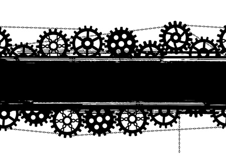 banner with gears and chains in black and white colors Vector
