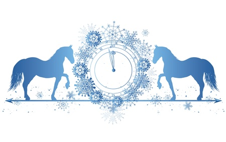 New Year border with horses and clock in blue colors Vector