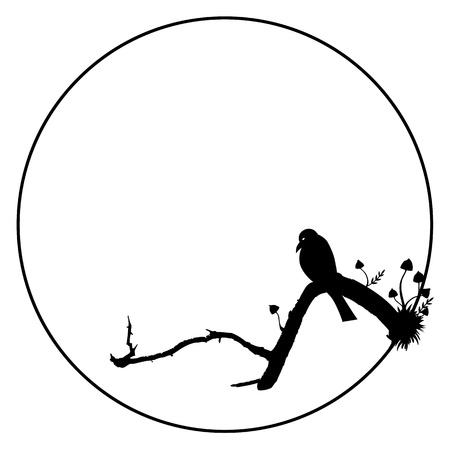 corvo imperiale: illustrazione vettoriale Halloween con uccelli e funghi Vettoriali