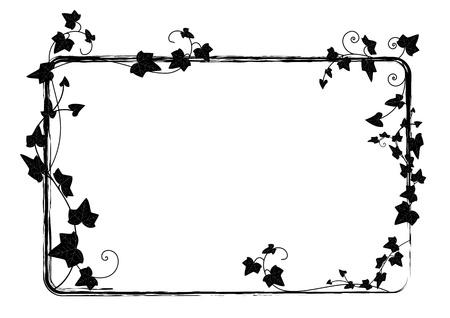 yedra: marco del rect�ngulo vector con la rama de la hiedra