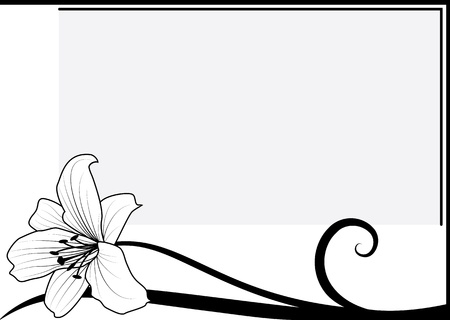 art nouveau border: vector frame with lily in black and white colors