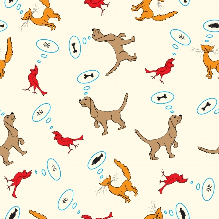 vector seamless  cartoon illustration with dog, cat and bird Vector