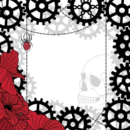 vector frame with skull, gears, spider and chains in black, red and white colors Vector