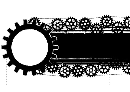 vector banner with gears and chains in black and white colors Stock Vector - 20440307