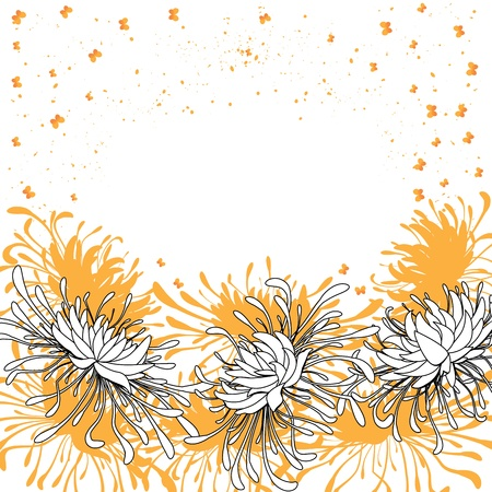 chrysanthemum and butterflies  floral vector  background   Vector