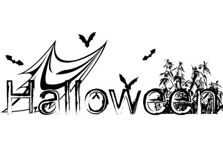 presencia: ilustraci�n vectorial de halloween con el fantasma, murci�lagos y ortigas Vectores