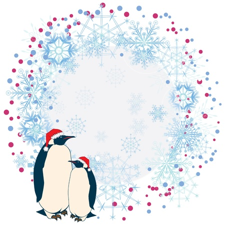 christmas card background: vector abstract background with penguins Illustration