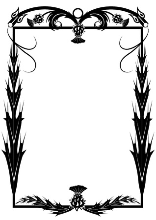 thistles: vector  frame with flowers of thistle and dragons in black and white colors