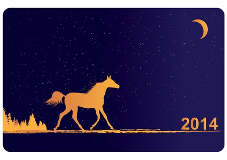 New Year 2014 background with horse Vector