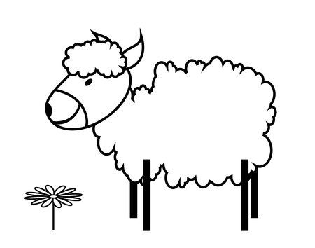 animals outline: funny illustration of the sheep and flower Illustration