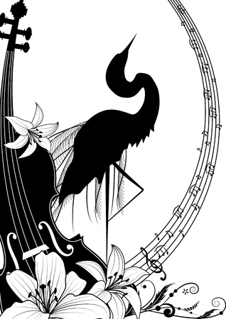 illustration with violin and heron in black and white colors Vector