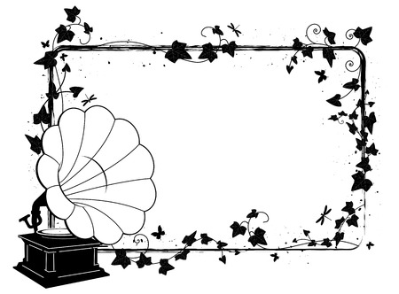 vector rectangle frame with branch of ivy and gramophone Vector