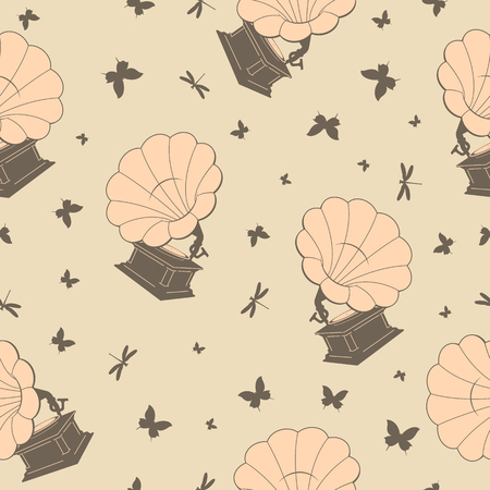 gram: seamless background with gramophones,  butterflies and dragonflies