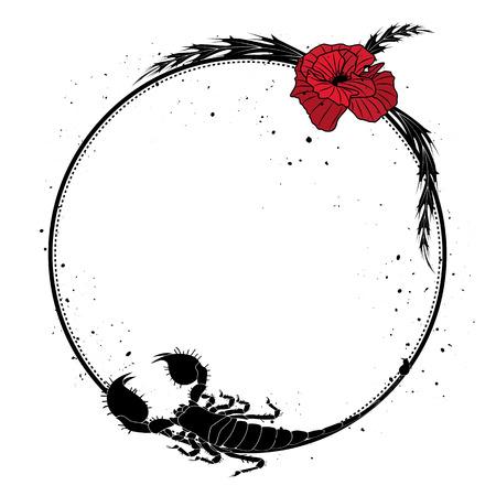 stile liberty: cornice con fiori di papavero rosso e scorpione
