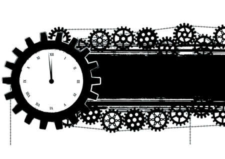 banner with gears and clock  in black and white colors Vector