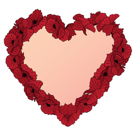 vector frame with heart wreath of poppies isolated on white