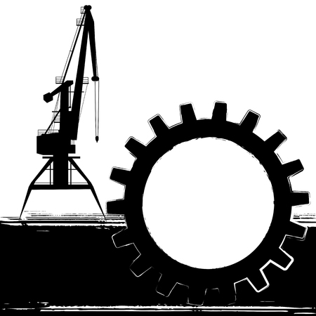 Banner with silhouette of the stylized port crane in black and white colors Vector