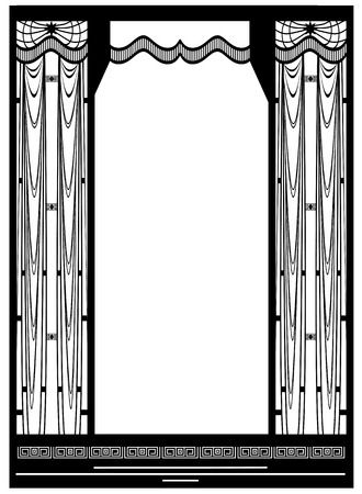 window curtain: abstract vector art nouveau grid frame  in black color Illustration