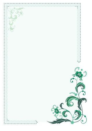 fringe: vector floral frame with dotted line fringe in green colors