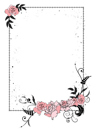 vector frame with flowers of roses and chain