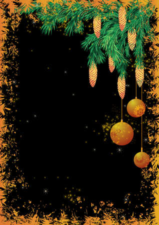 fir cones: vector Christmas background with fir branches and cones