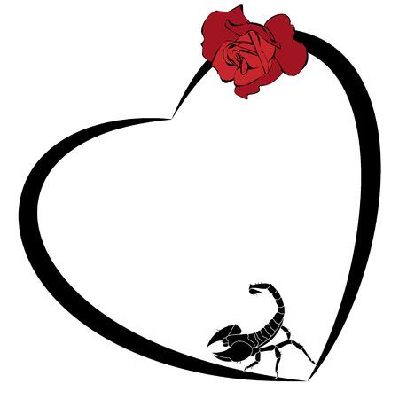 Marco del vector de San Valentín con la rosa y el escorpión Ilustración de vector