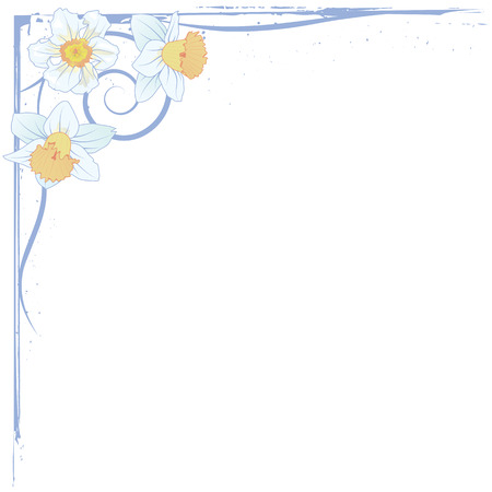 floral corner: vector border of narcissus inblue and yellow colors