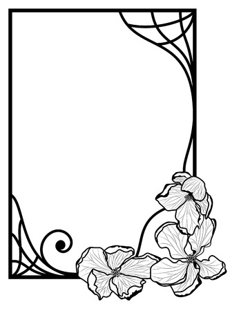 vector frame with apple flowers  in black and white colors Vector