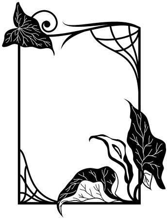 vector frame with stylized  lily flowers  in black and white colors