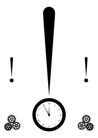 illustration concept of the  exclamation mark and clock Vector