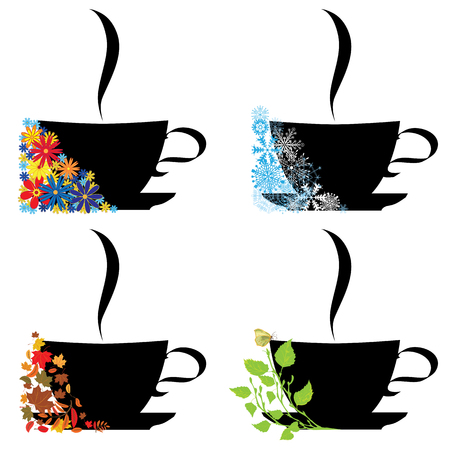 cup four: set of vector illustrations with cup in four seasons