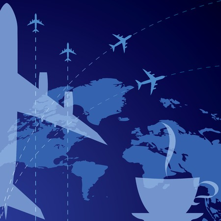 vector background with airplane and cup of coffee  EPS 10  Vector