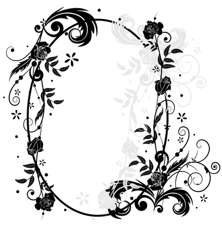 vector frame with roses  in black and white colors Vector