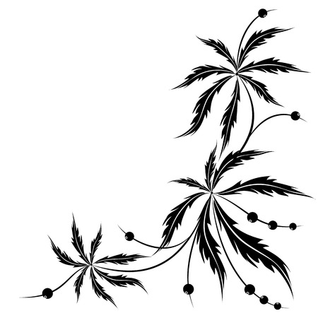 abstract floral vector background in black and white colors Vector