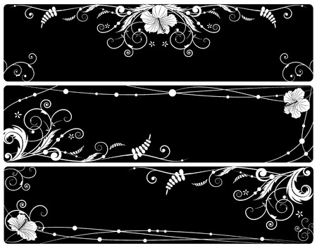 set of vector floral banners with  hibiscus in black and white colors Vector