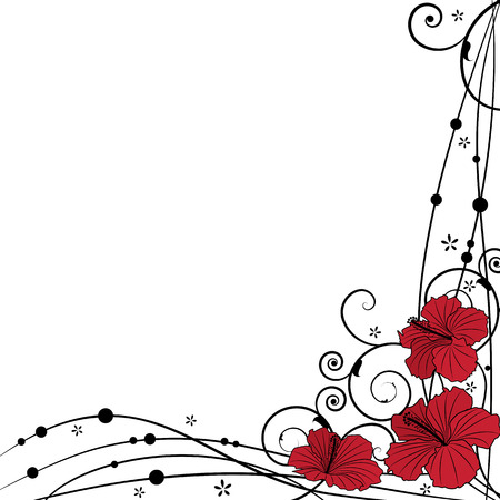 floral vector background with hibiscus in black and red colors Vector