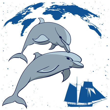 travel vector illustration with dolphins, map and  tall ship